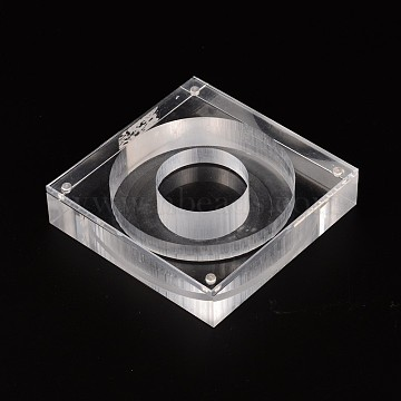 Plastic Bangle/Bracelet Displays, Clear, 12x12x2.8cm(BDIS-N014-02)