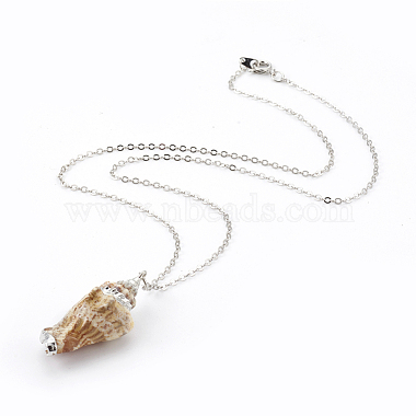 Electroplate Spiral Shell Pendant Necklaces and Dangle Earrings Jewelry Sets(SJEW-JS01007-03)-3