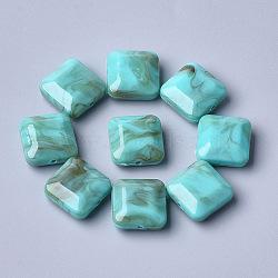 perles acryliques, pierre d'imitation, facettes, carré, darkturquoise, 15.5x15.5x7.5 mm, trou: 1.6 mm(X-OACR-T006-156A)