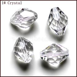 Perles d'imitation cristal autrichien, grade AAA, facette, Toupie, clair, 6x9.5mm, Trou: 0.7~0.9mm(SWAR-F054-9x6mm-01)
