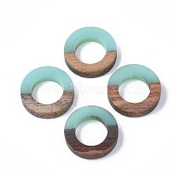 Anneaux de liaison en résine et bois, anneau, paleturquoise, 18x4mm(X-RESI-S358-21B)