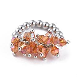 304 bagues élastiques en acier inoxydable, avec perle de verre galvanisée et goupilles en laiton, orange, taille 8, 18mm(RJEW-JR00261-10)