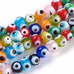 Perles vernissées manuelles, mauvais œil, couleur mixte, 6mm, Trou: 2mm(X-DT251J)
