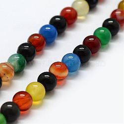 Natural Agate Beads Strands, Dyed & Heated, Round, 8~8.5mm, Hole: 1mm; about 48pcs/strand, 15.1inches