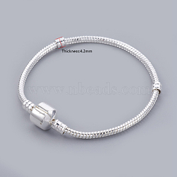 Brass European Style Bracelets for DIY Making, Silver Color Plated, 170mm; 3mm(X-PPJ062Y-S)