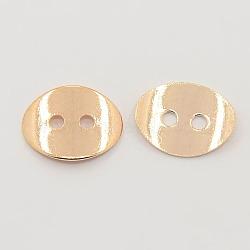 2 -hole laiton ovale bouton fermoirs, or rose, environ 10 mm de large, Longueur 14mm, épaisseur de 1mm, Trou: 1mm(X-KK-G080-RG)
