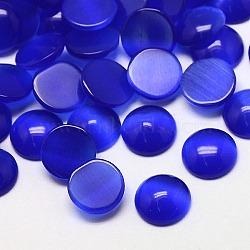 Кабошоны кошачьего глаза, полукруглый, синие, 18x3 мм(CE-J002-18mm-03)