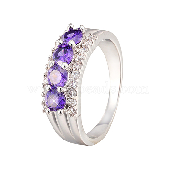 Violet Brass+Cubic Zirconia Finger Rings