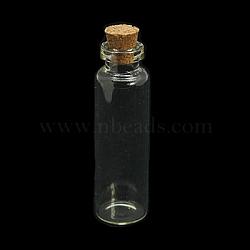 Bocal en verre pour les contenants de perles, avec bouchon en liège, souhaitant bouteille, clair, 60x16mm(X-CON-E008-60x16mm)