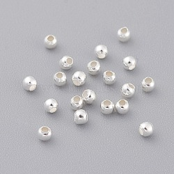 Sterling Silver Spacer Beads, Round, Silver, 2mm, Hole: 0.5mm(X-STER-A010-2mm-239A)