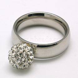 316 anneaux d'argile de polymère en acier inoxydable de l, avec strass tchèque, cristal, 19mm(X-RJEW-F002-235B-19mm)