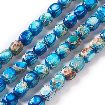 Natural Regalite/Imperial Jasper/Sea Sediment Jasper Beads Strands, Dyed, Cuboid, Deep Sky Blue, 7x6x6mm, Hole: 0.8mm, about 56pcs/strand, 161.42 inches(410cm)(G-Z008-01A)