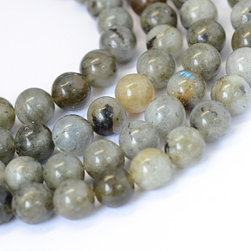 Natural Labradorite Round Bead Strands, 8~8.5mm, Hole: 1mm, about 47pcs/strand, 15.5 inches(X-G-E334-8mm-19)