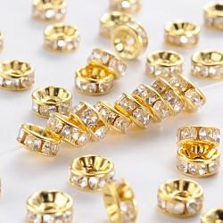 Железа горный хрусталь разделительные бусинки, класс b, прямой край, рондель, золото, прозрачные, Размер : диаметром около 7~8 мм , толщиной 3.5 мм , отверстие : 2 мм