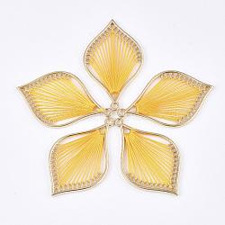 подвески из хлопчатобумажной нити, сплава с выводами, лист, золотой, золото, 43x26.5x2 mm, отверстия: 1.8 mm(FIND-S306-03F)