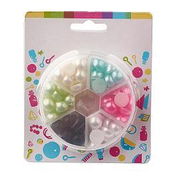 Cabochons en plastique abs, perle d'imitation, demi-rond, couleur mixte, 12x6mm(SACR-JP0002-12mm-01)