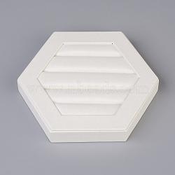 PU bijoux en cuir affiche, avec planche, hexagone, blanc, 13.4x15.1x2.4 cm(ODIS-G014-06)