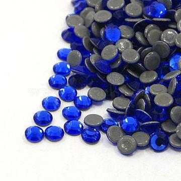 Glass Hotfix Rhinestone, Grade AA, Flat Back & Faceted, Flat Round, Cobalt, SS12, 3.0~3.2mm, about 1440pcs/bag(RGLA-A019-SS12-369)