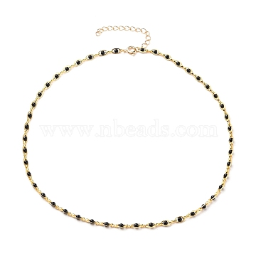 Brass Link Chain Necklaces, with Glass Pearl Beads and Spring Ring Clasps, Black, Golden, 17-3/4 inches(45cm)(NJEW-JN03175)