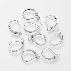 304 Stainless Steel Leverback Earring Findings, with Loop, Stainless Steel Color, 16x10.5x0.5mm, Hole: 1.5mm; Pin: 0.5mm(X-STAS-S066-13)
