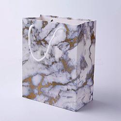 Sacs en papier kraft, avec poignées, sacs-cadeaux, sacs à provisions, rectangle, motif de texture de marbre, grises , 23x18x10 cm(CARB-E002-M-H01)
