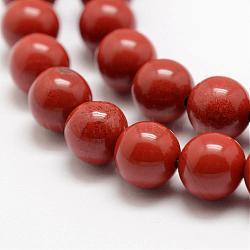 """Chapelets de perles en jaspe rouge naturel, AA grade, rond, 6mm, trou: 1mm; environ 63 pcs/chapelet, 15.5"""" (39 cm)(G-E375-6mm-02)"""