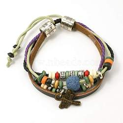 Lava Beads Bracelets, Waxed Cotton Cord with Alloy Findings and Wood Beads, Steel Blue, 48mm(X-BJEW-D264-01)