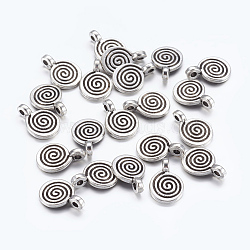 Tibetan Style Alloy Charms, Lead Free, Cadmium Free and Nickel Free, Flat Round, Antique Silver Color, about 8mm wide, 11.8mm high, 1.5mm thick, hole:1mm