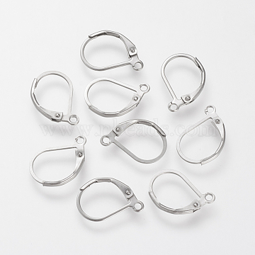 304 Stainless Steel Leverback Earring Findings, with Loop, Stainless Steel Color, 16x10.5x0.5mm, Hole: 1.5mm, Pin: 0.5mm(X-STAS-S066-13)