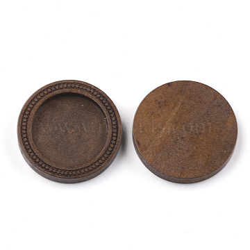 Wood Cabochon Settings, Flat Round, Saddle Brown, Tray: 20~20.5mm, 28x5mm(X-WOOD-S044-06)