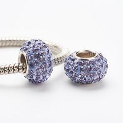 cristal autrichien perles européennes, grandes perles de trou, le noyau sterling silver, rondelle, 539 _tanzanite, 11~12x7.5 mm, trou: 4.5 mm(STER-E049-E20)