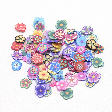 Handmade Polymer Clay Cabochons, No Hole, Flower, Mixed Color, 4~6x4~6x0.3~0.8mm(X-CLAY-Q242-08C)