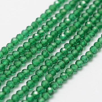 Synthetic Gemstone Strands, Imitation Emerald, Faceted, Round, 2mm, Hole: 0.5mm; about 160~179pcs/strand, 12.5''~12.9inches(320~330mm)(X-G-P270-2mm-26)