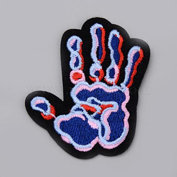 Computerized Embroidery Cloth Iron On/Sew On Patches, Costume Accessories, Appliques, Palm, RoyalBlue, 58x50x2mm(X-AJEW-S067-023)