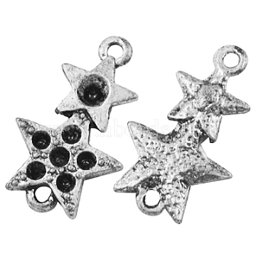 Alloy Rhinestone Connector Settings, Lead Free, Cadmium Free and Nickel Free, Star, Antique Silver, about 19.5mm long, 12mm wide, 2mm thick, hole: 1mm; Fit for 0.8~2mm rhinestone(X-EAA264Y-NF)