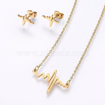 304 Stainless Steel Jewelry Sets, Stud Earrings and Pendant Necklaces, Heartbeat, Golden, Necklace: 18.9 inches(48cm); Stud Earrings: 9x12x1.2mm; Pin: 0.8mm(SJEW-O090-01G)