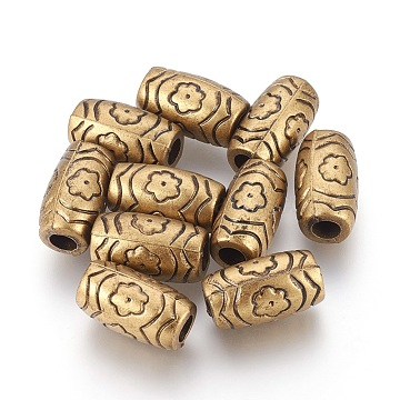 CCB Plastic Beads, Large Hole Beads, Column with Flower, Antique Bronze, 19x11mm, Hole: 5mm(CCB-E053-03AB)