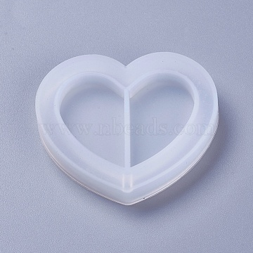 DIY Quicksand Jewelry Silicone Molds, Resin Casting Molds, For UV Resin, Epoxy Resin Jewelry Making, Heart, White, 45x51x8mm(X-DIY-F031-04)