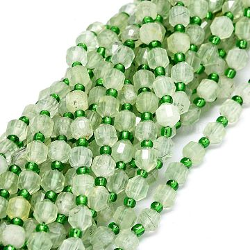 Grade AA Natural Prehnite Beads Strands, with Seed Beads, Faceted, Bicone, 5~7x6mm, Hole: 0.8mm, about 48pcs/strand, 15.55 inches(39.5cm)(G-O201B-36)