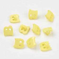 Boutons en acrylique, 1-trou, teint, lettre b, jaune, 14x13x2mm, Trou: 3mm(X-BUTT-E029-06)