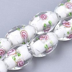 Argent à la main feuille perles de verre au chalumeau, ovale avec des fleurs, blanc, 16~17x9~11mm, Trou: 1.5~2mm(X-LAMP-Q030-02P)