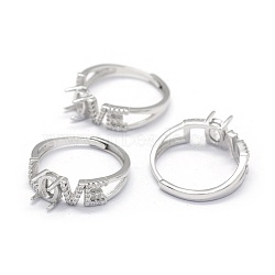Adjustable 925 Sterling Silver Finger Ring Components, with Cubic Zirconia, Word Love, Real Platinum Plated, Tray: 3x5mm; 18mm(STER-E061-21P)
