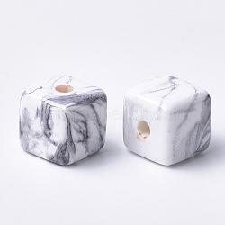 Perles acryliques imprimées, cube, gris clair, 15x15x15mm, Trou: 3.5mm(X-MACR-T024-59)