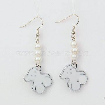 White Alloy + Glass Earrings