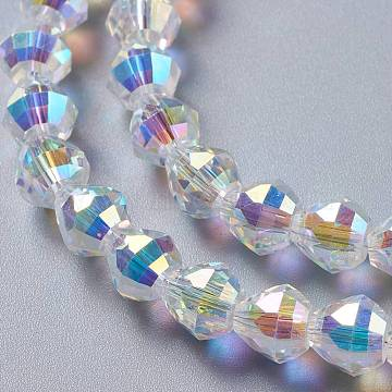 Glass Imitation Austrian Crystal Beads, Faceted Bicone, Clear AB, 8x8mm, Hole: 1.2mm(GLAA-F108-07B)