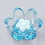 прозрачные смолы кабошоны, с блеском порошок, цветок, lightskyblue, 20~20.5x18~19x8~9 mm