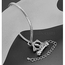 Laiton bracelet de style européen faisant, avec alliage fermoirs toggle, couleur platine, environ 18 cm (sauf le fermoir et chaîne de fer réglable) de long, épaisseur de 3mm, chaîne de fer réglable: 6.5 cm de long(X-PPJ064)