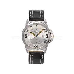 Высококачественной нержавеющей стали кожа кварцевые наручные часы, чёрные, 245x20.5 мм; голова часы: 49x43.5x9.5 см; Циферблат: 34 мм(WACH-N037-04D)