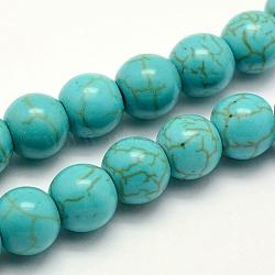 """Chapelets de perles en turquoise synthétique, teint, rond, turquoise, 8x7~7.5mm, trou: 1mm; environ 50 pcs/chapelet, 14.5"""" (37 cm)(X-TURQ-F007-01B-8mm)"""