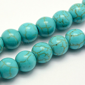 Synthetic Turquoise Beads Strands, Dyed, Round, Turquoise, 8x7~7.5mm, Hole: 1mm, about 50pcs/strand, 14.5 inches(37cm)(X-TURQ-F007-01B-8mm)